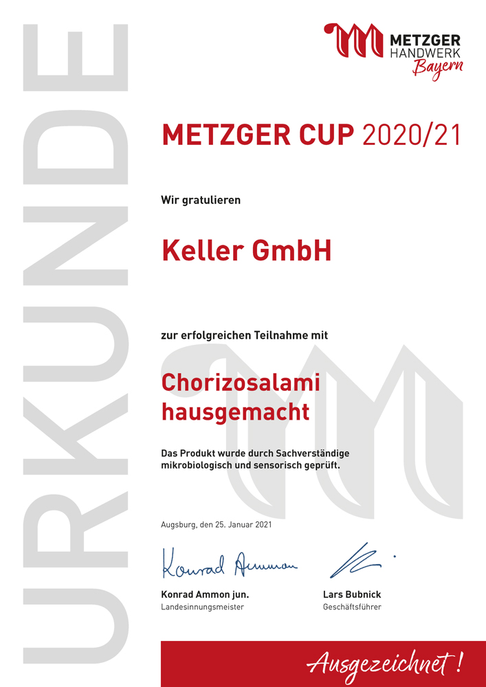 Metzgerinnung_Urkunde_Metzger Cup_ 2020_2021_Keller_Chorizosalami