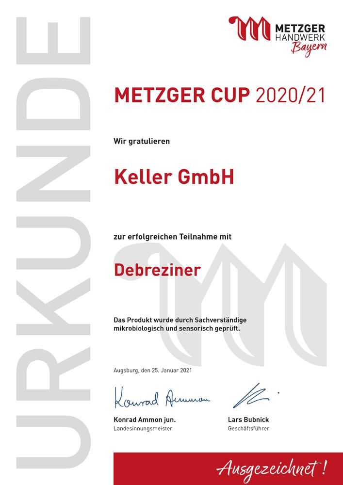 Metzgerinnung_Urkunde_Metzger Cup_ 2020_2021_Keller_Debreziner